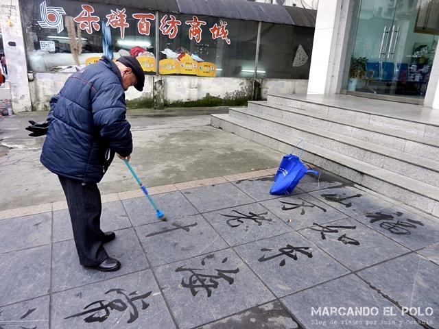 Curiosidades de China caligrafia con agua