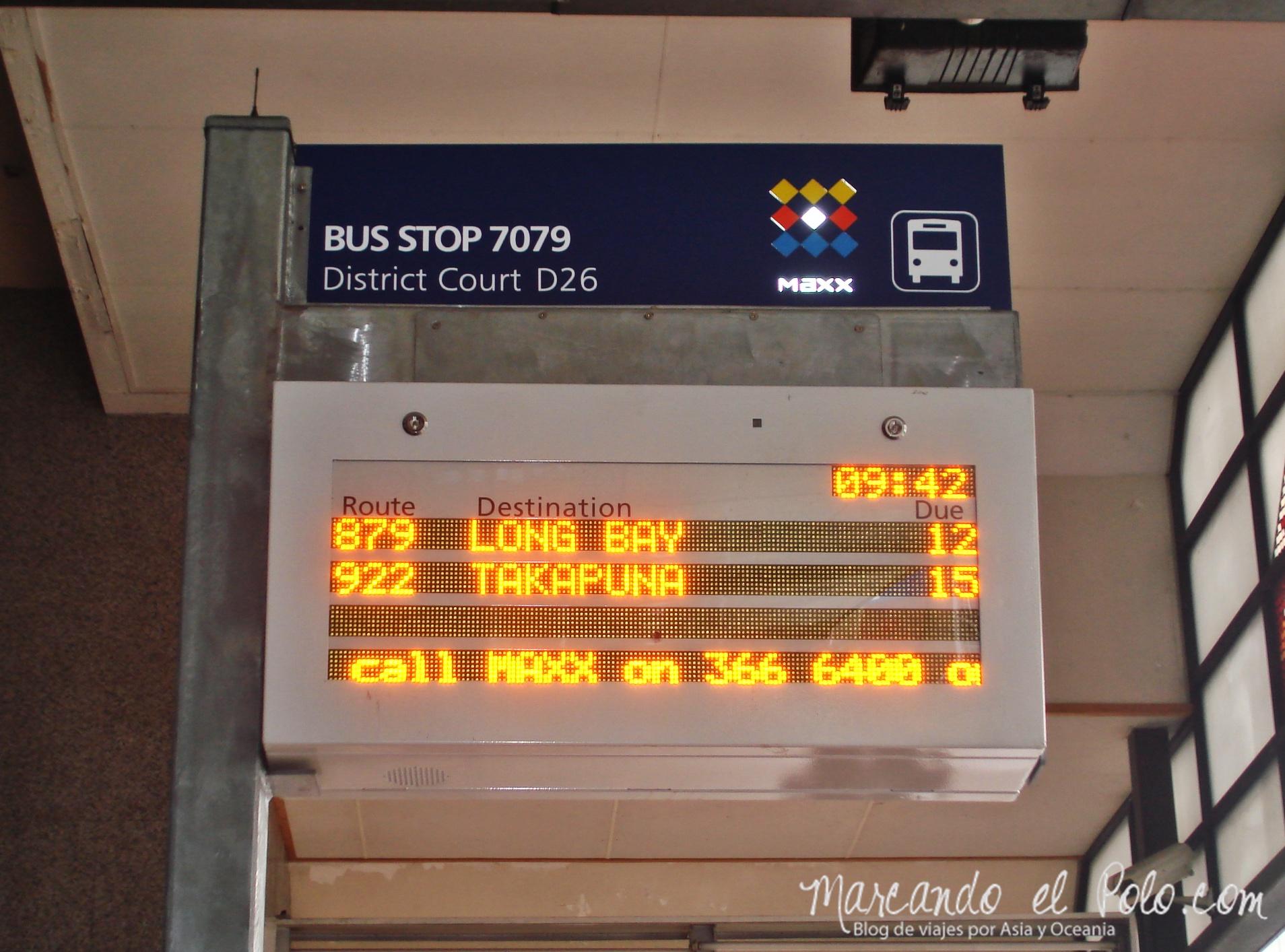 Working Holiday Nueva Zelanda: parada de buses Auckland