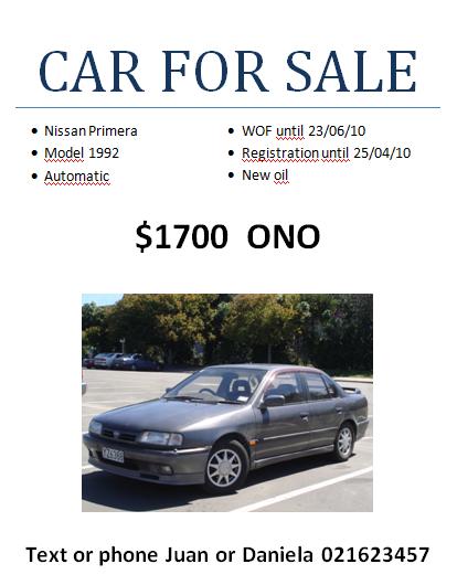 Comprar un auto en Nueva Zelanda: a la venta