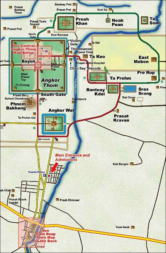 Templos de Angkor: mapa