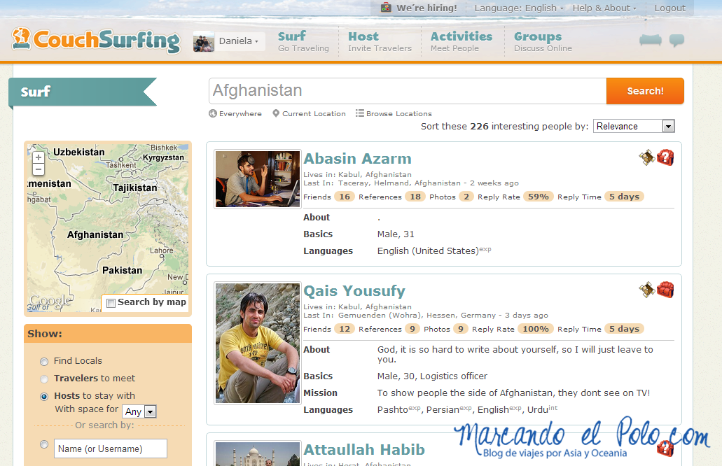 Couchsurfing en Afghanistan