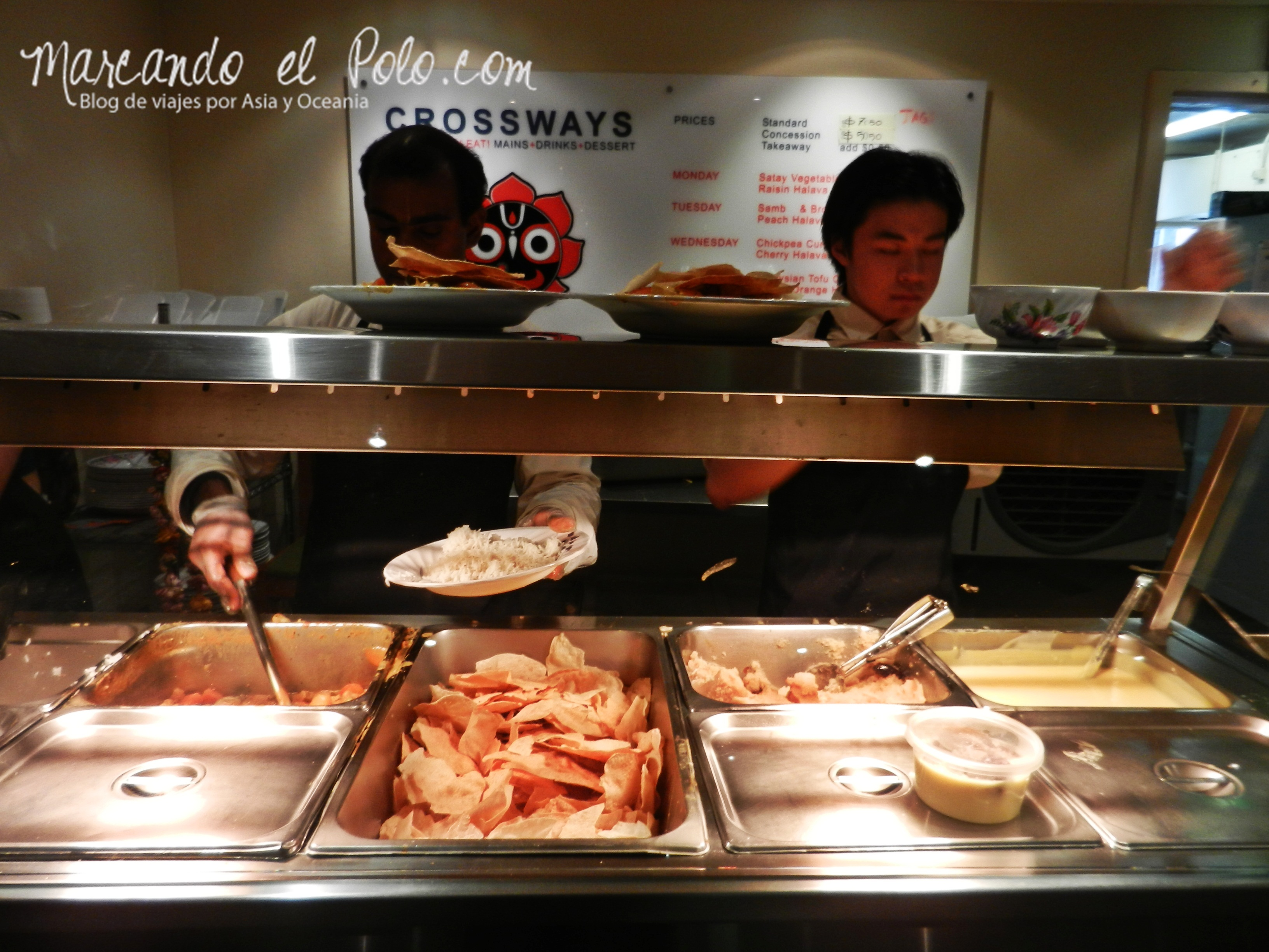 Viajar barato por Melbourne: Restaurante hare krishna Crossways