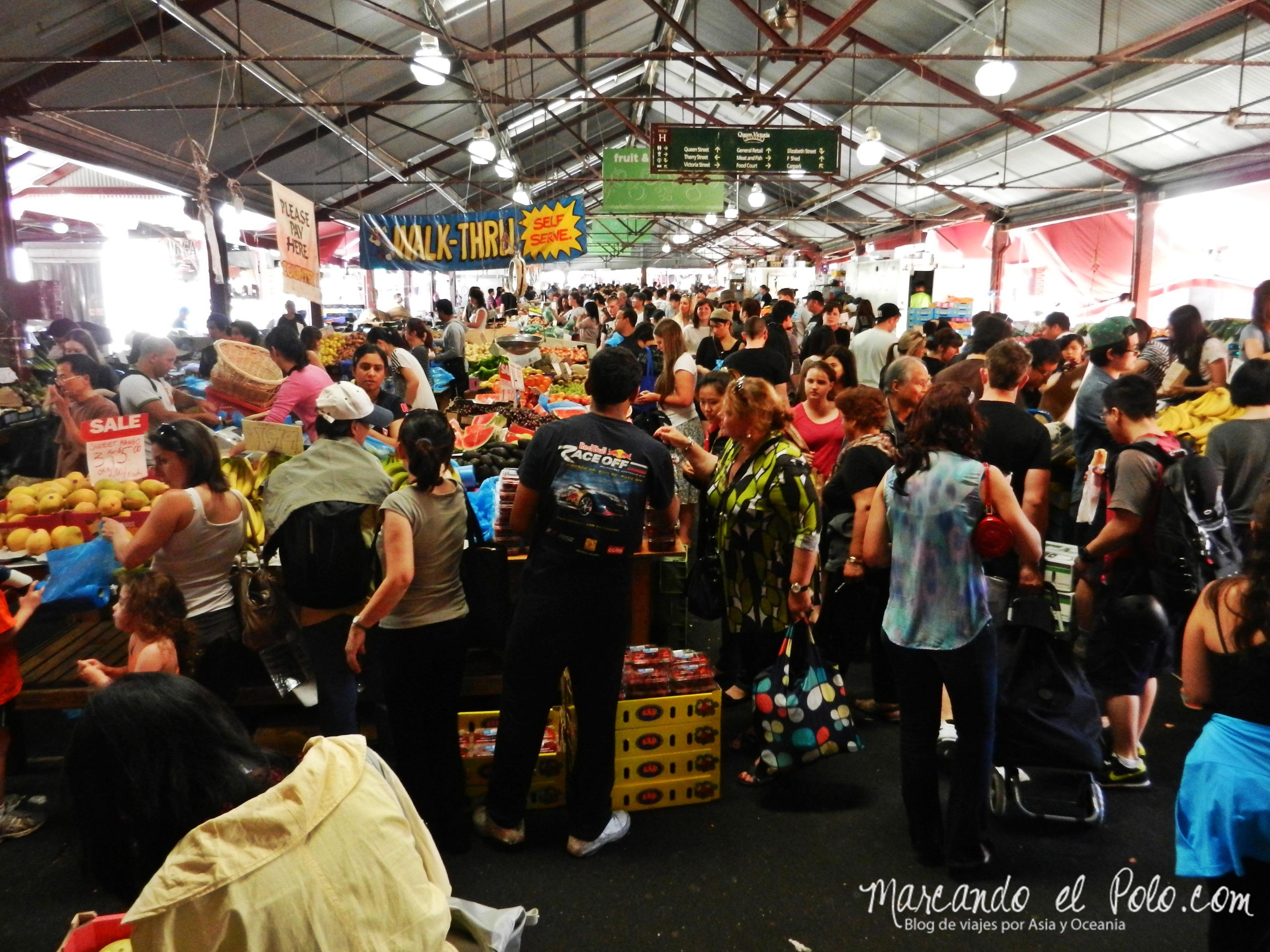 Viajar barato por Melbourne: remate en el Mercado Queen Victoria.