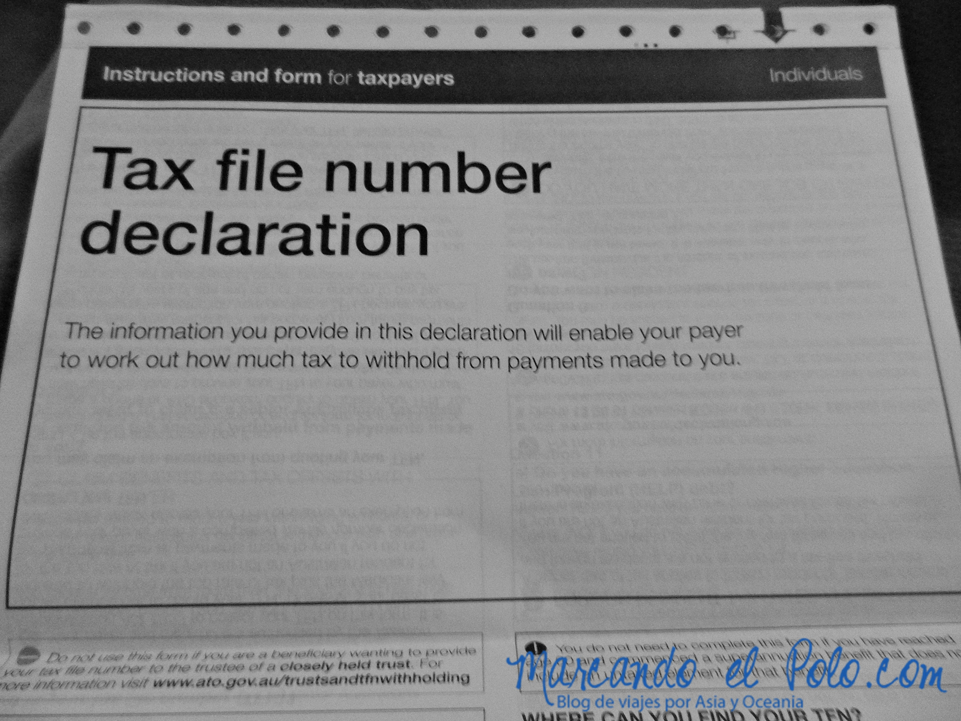 Working Holiday Australia: Tax File Number