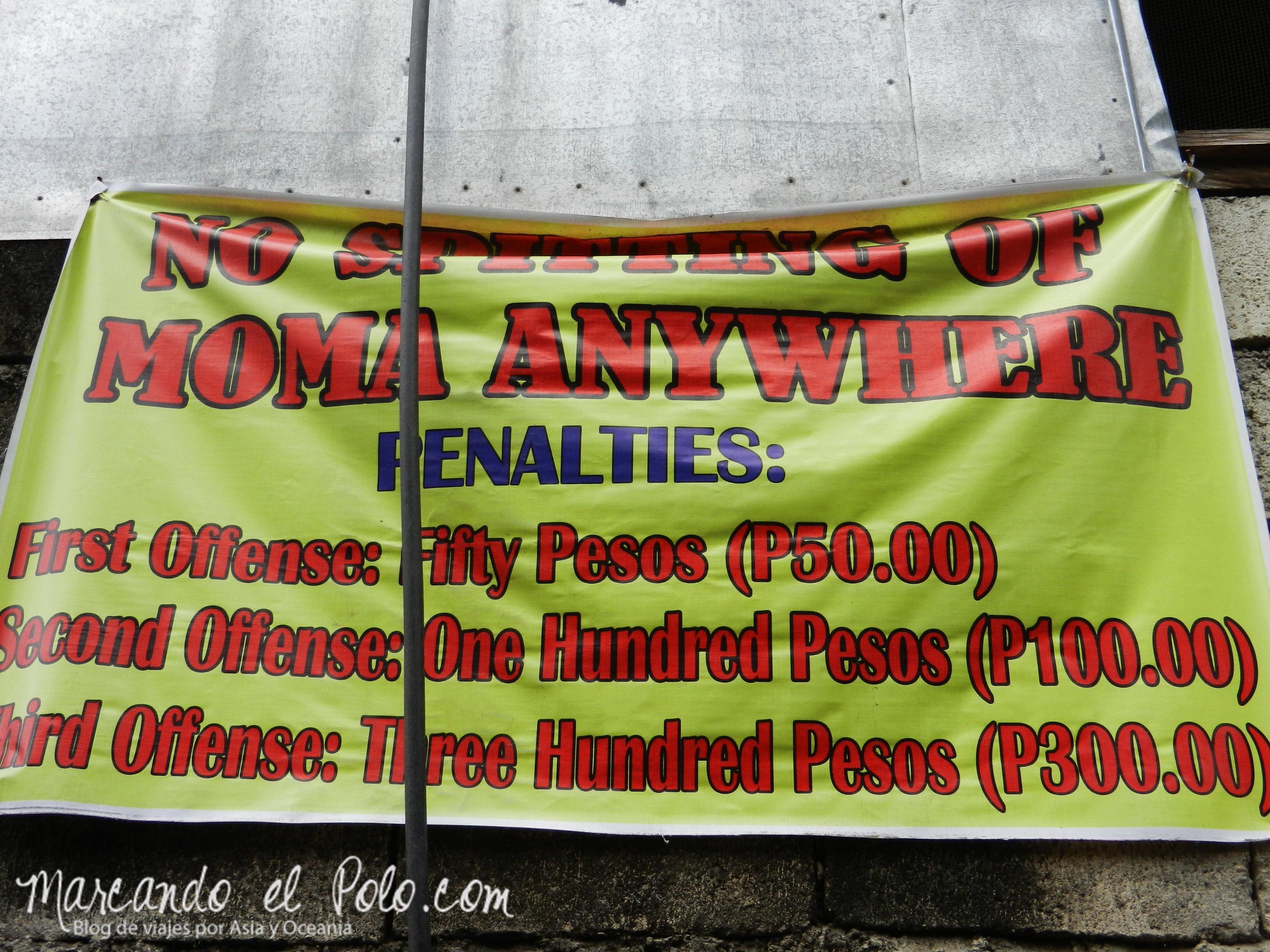 """Terrazas de arroz en Filipinas: Multas por escupir """"moma""""."""