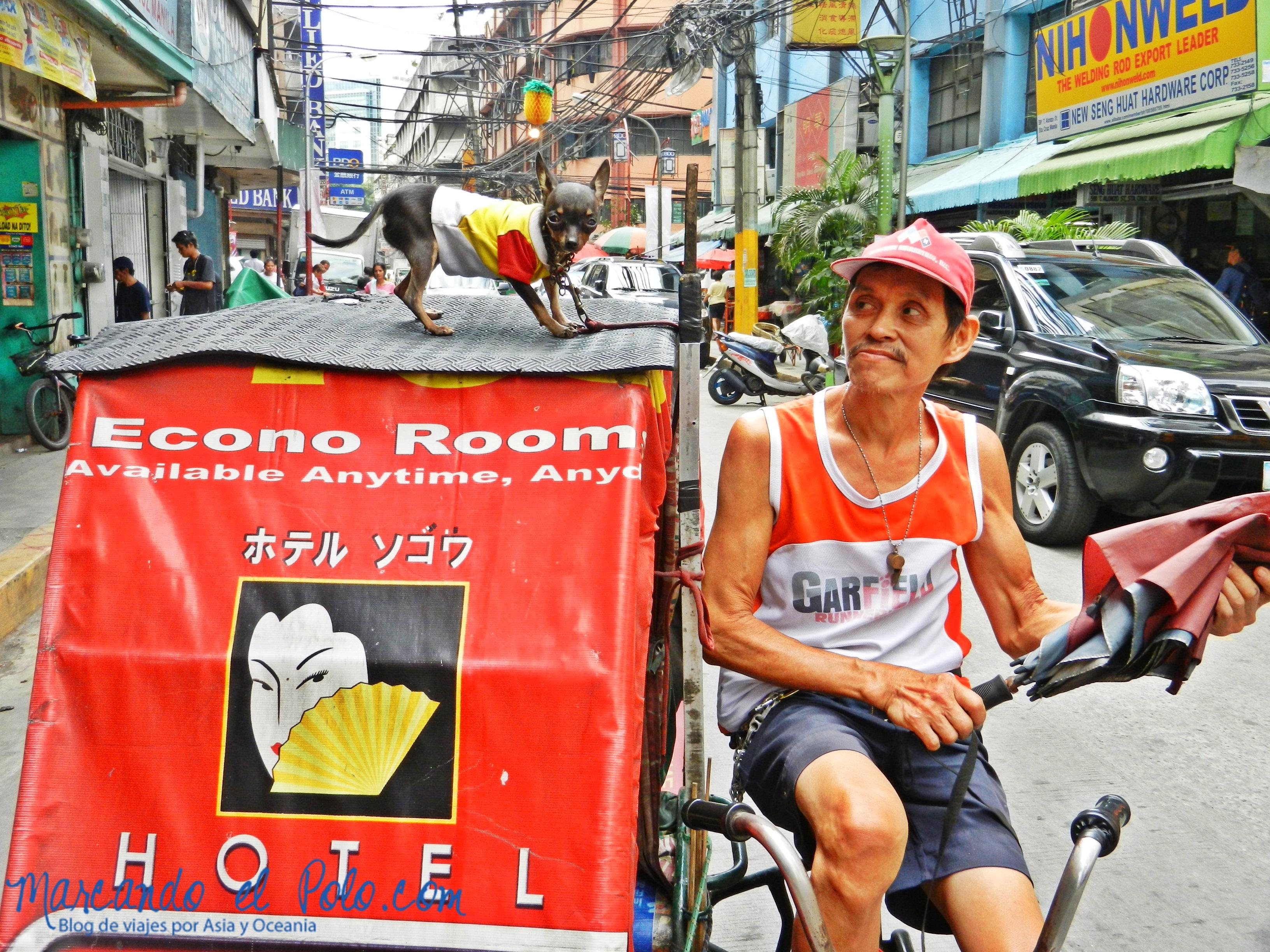 Curioso parajero del pedicab en Chinatown, Manila, Filipinas