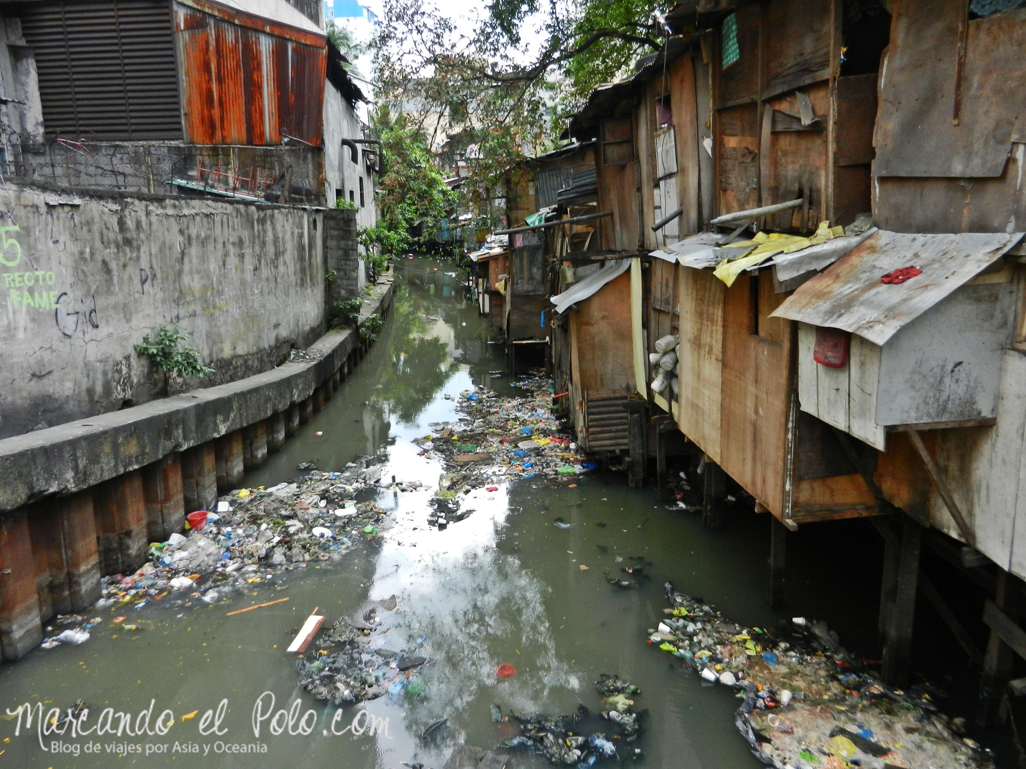 contaminado río Pasig de Manila, Filipinas
