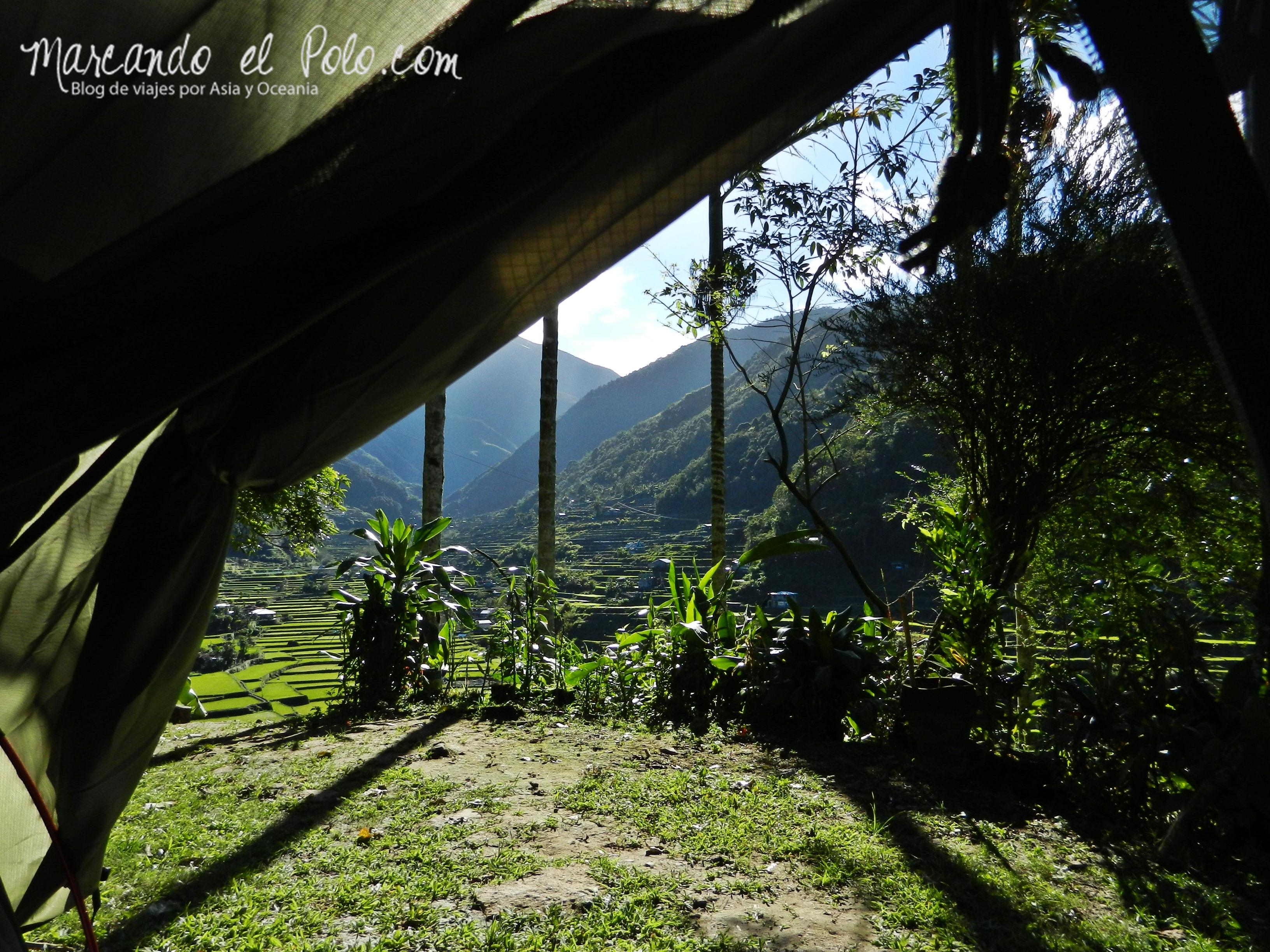 Terrazas de arroz en Filipinas: Vista desde la carpa en Hapao