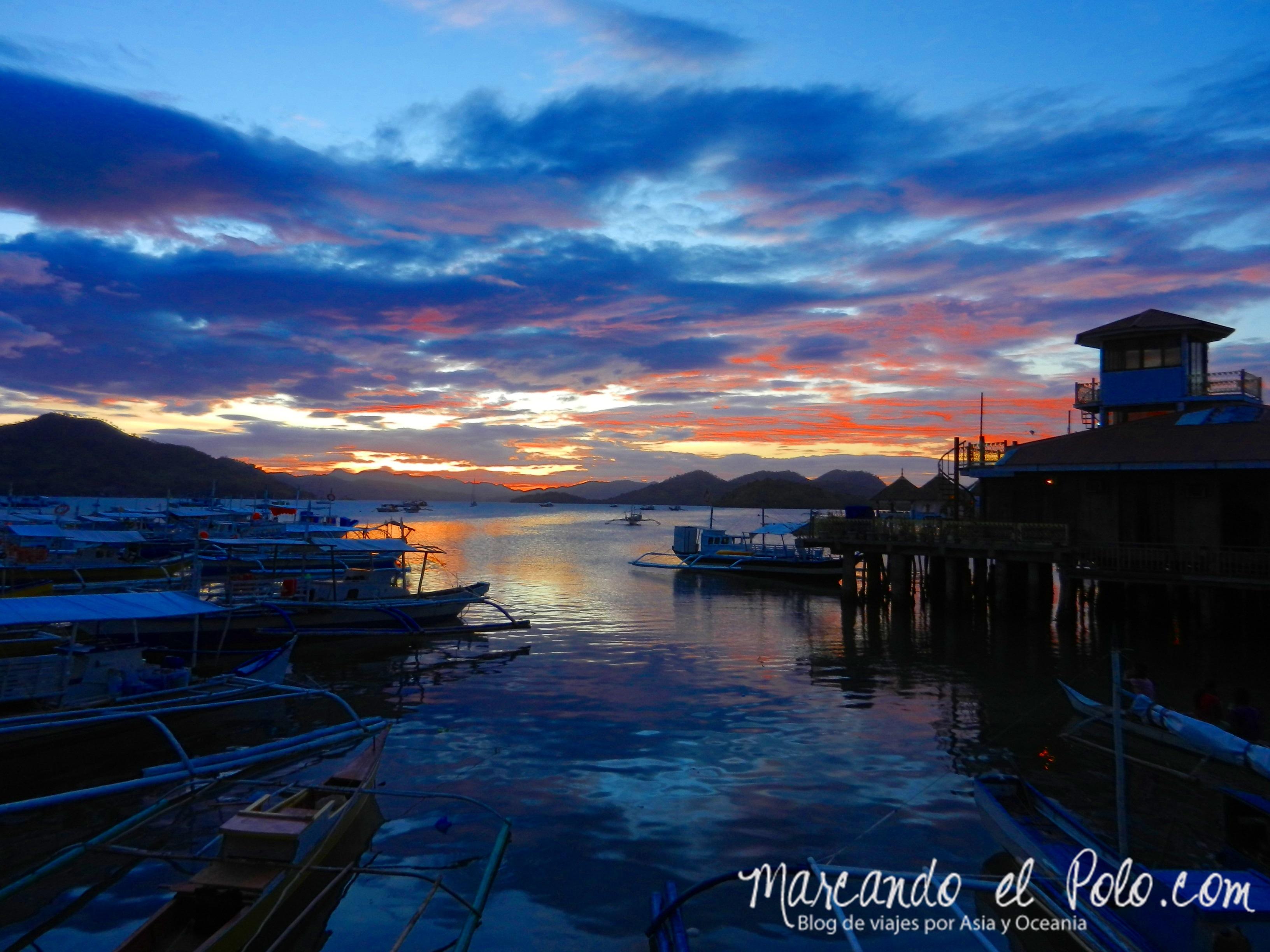 Viajar a Palawan: Atardecer en Corón.