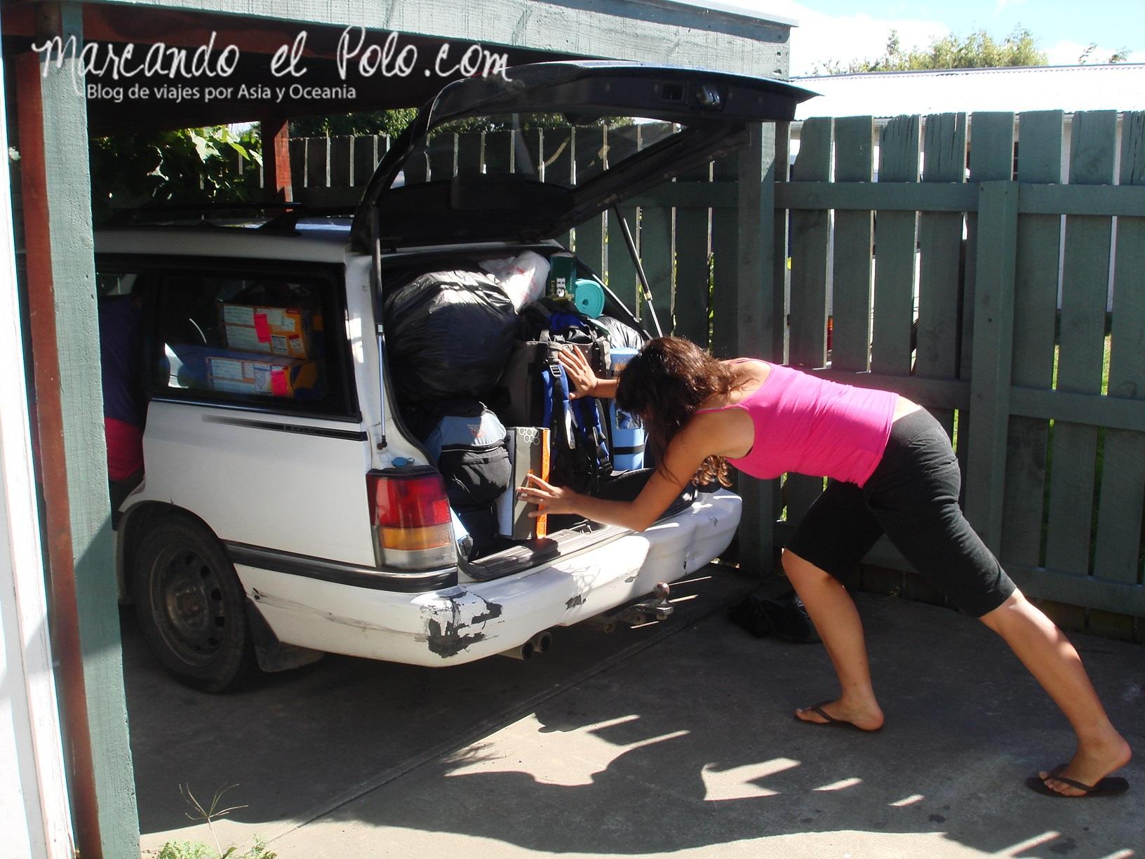 Working Holiday Nueva Zelanda: auto lleno