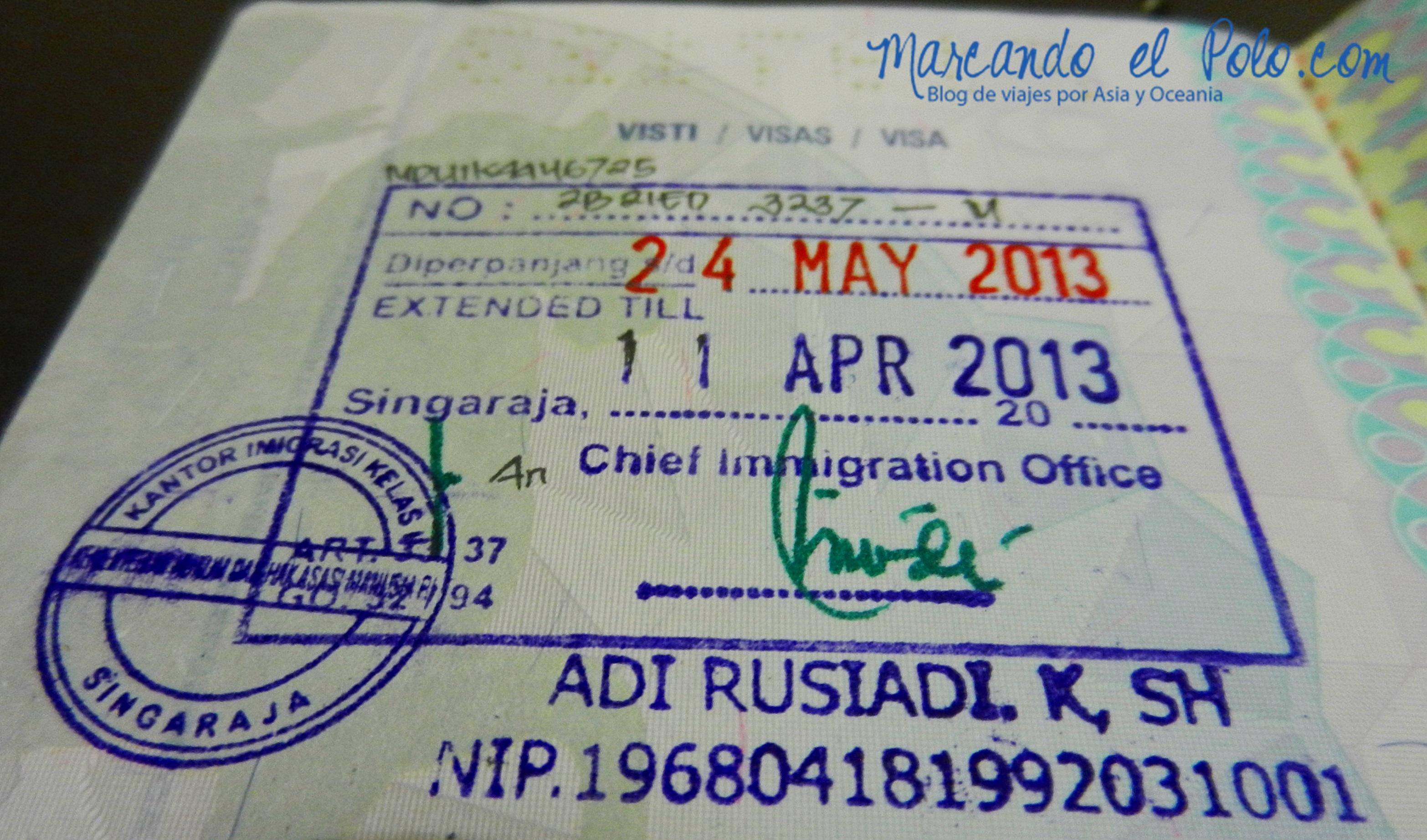 Visas y vacunas viajar a Indonesia: extensión