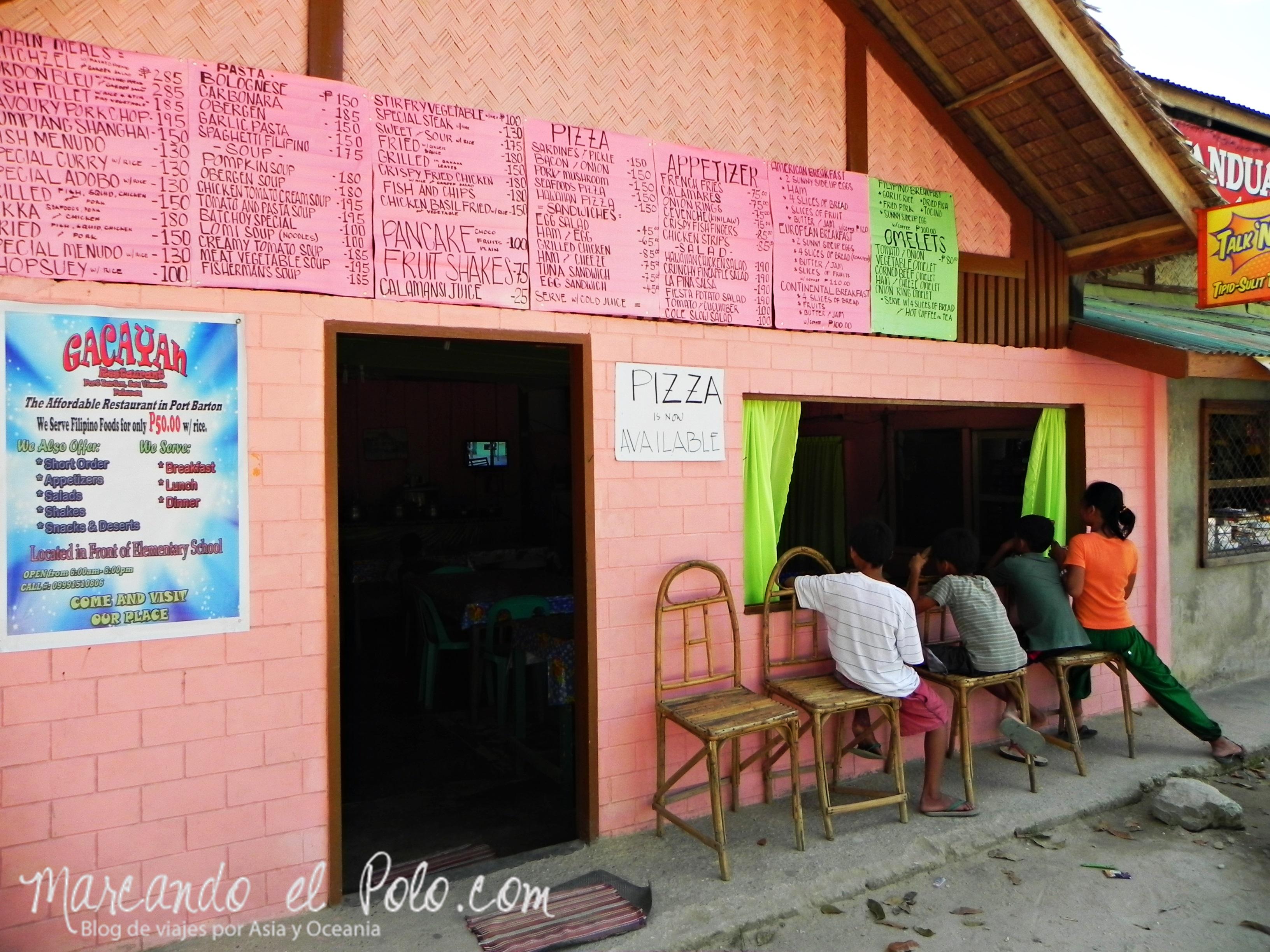 Viajar a Palawan: karinderia Port Barton