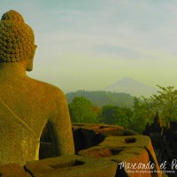 Buda en templo Borobudur, Indonesia