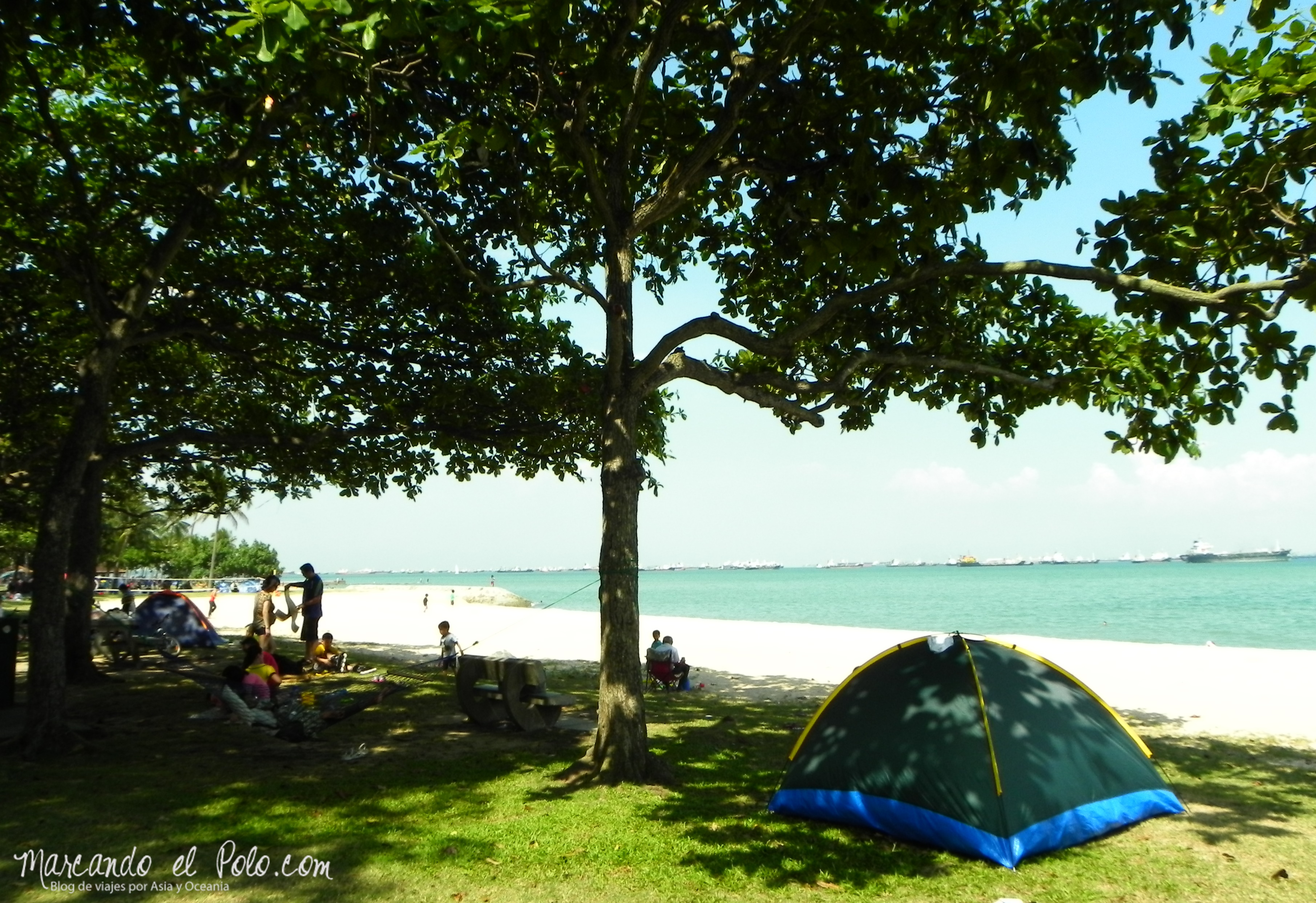 Lugar de acampe en East Coast Park, Singapur