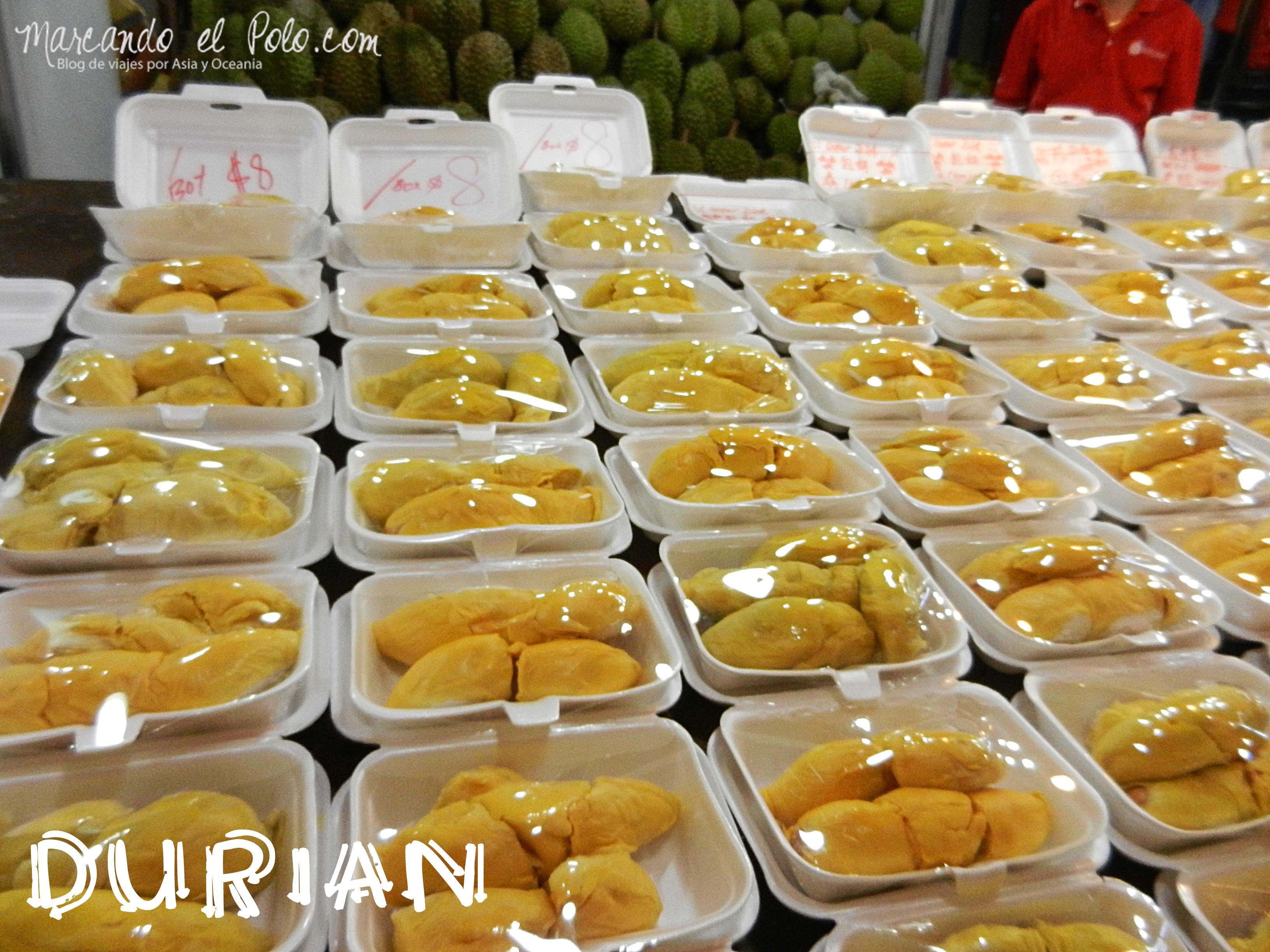 El durián también podría ser otra opción de postre, pero es muy caro en Singapur!!!