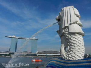 Viajar a Singapur - Leon Merlion en Marina Bay