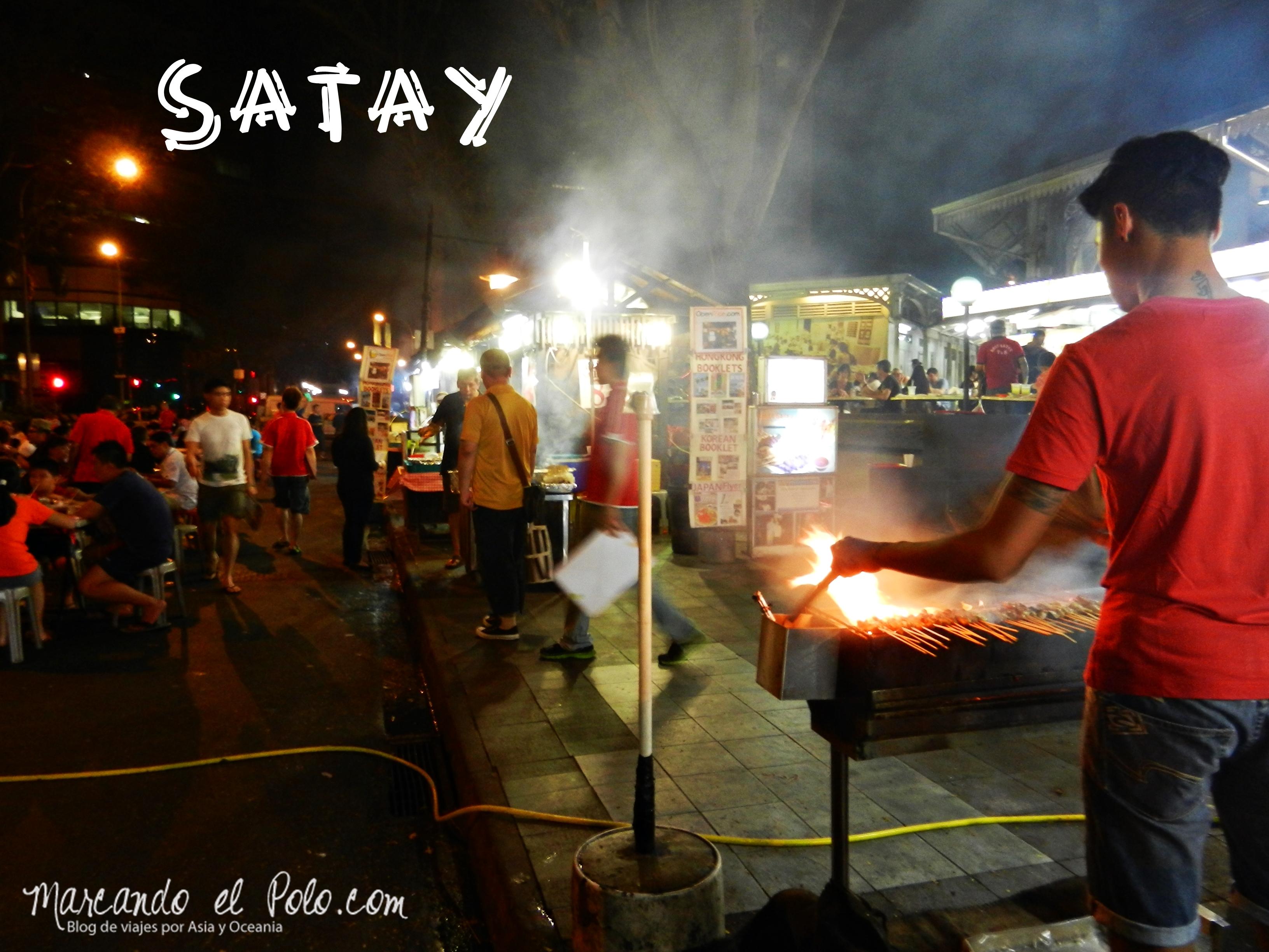 Satay, otro de los favoritos de Malasia y Singapur.