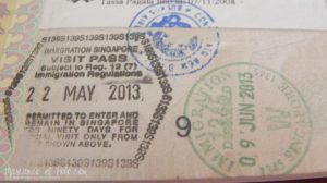 Visa de Singapur - Sello de entrada