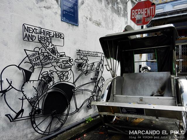Arte callejero en hierro Penang