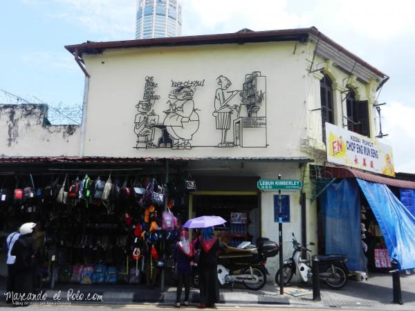 Arte callejero de Penang en hierro - Kimberley St.