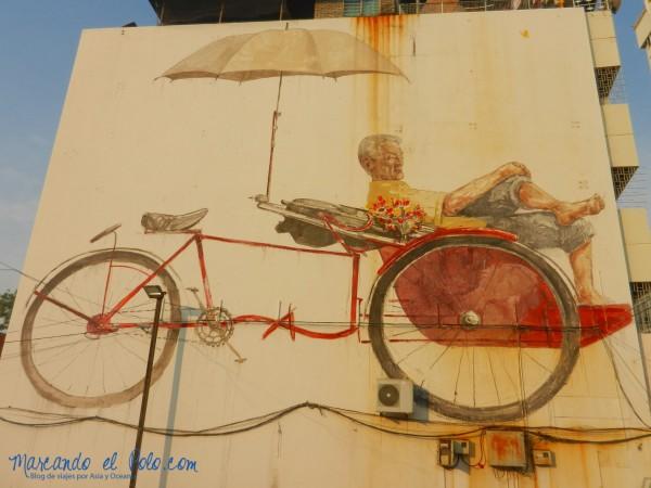 Arte callejero de Penang - The Trishaw man