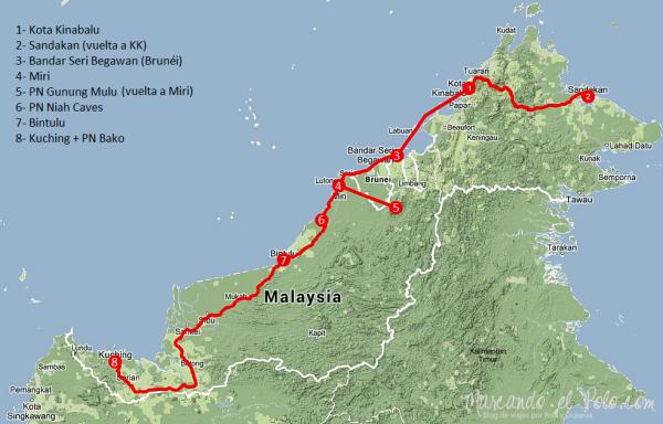 Itinerario Borneo malayo. Clíck para agrandar