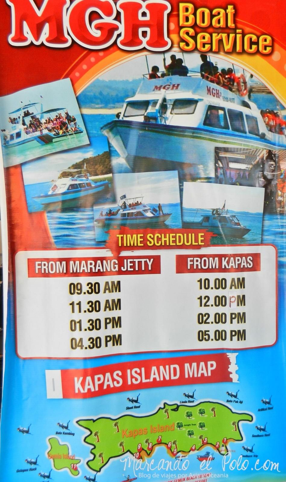 Itinerario viajar a Malasia: Horario de botes a Kapas