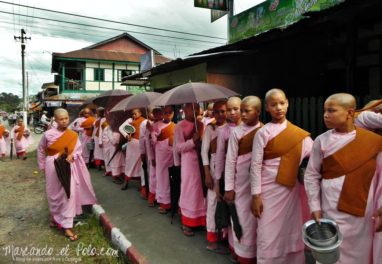 Monjas ofrendas matutinas - Curiosidades de Myanmar