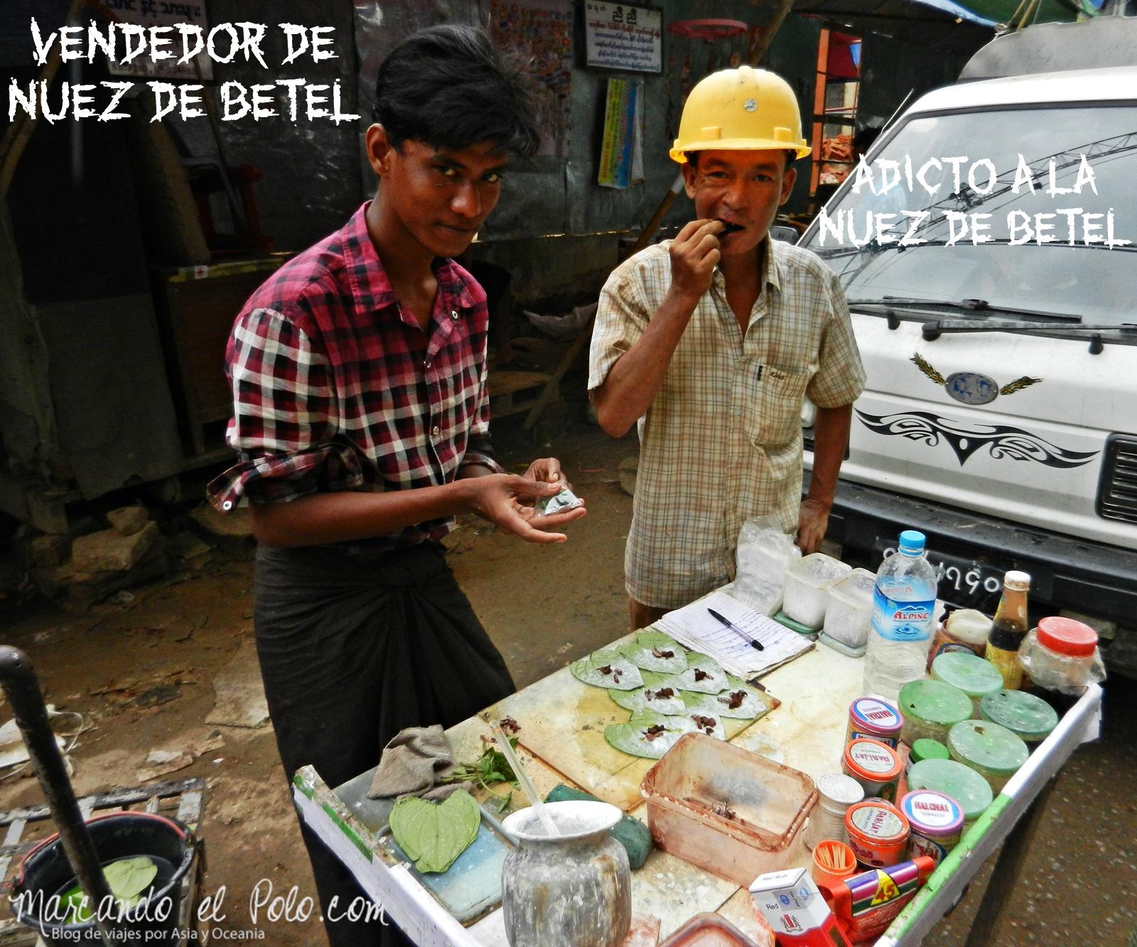 Vendedor betel - Curiosidades Myanmar