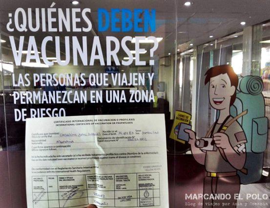 Certificado vacuna fiebre amarilla