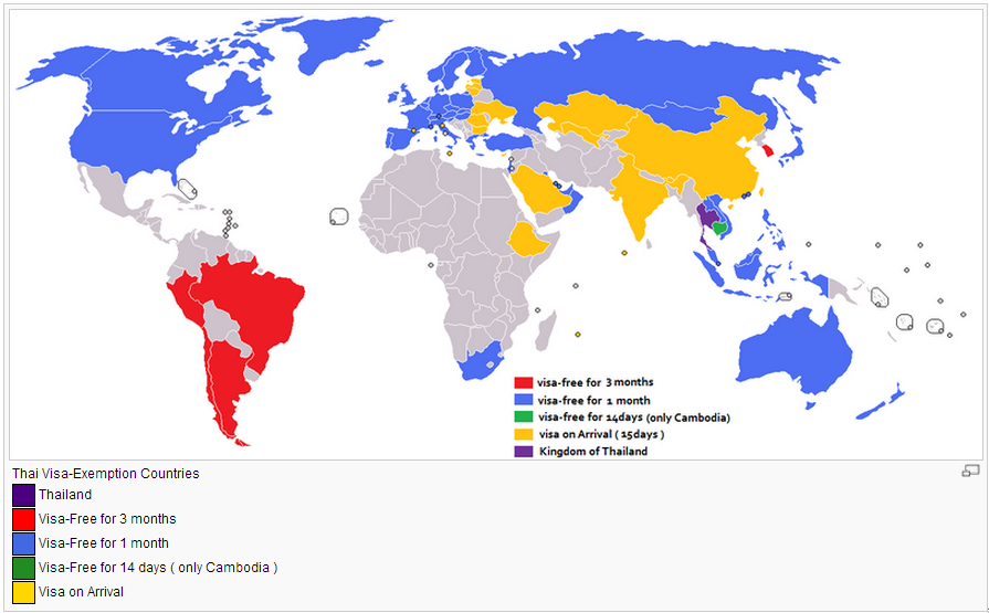 Países que necesitan visa para viajar a Tailandia