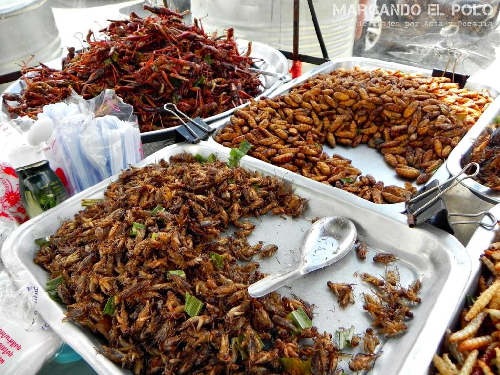 Y acá el snack favorito de los locales: los bichos. Crocantitos y con salsa de soja... mmmm