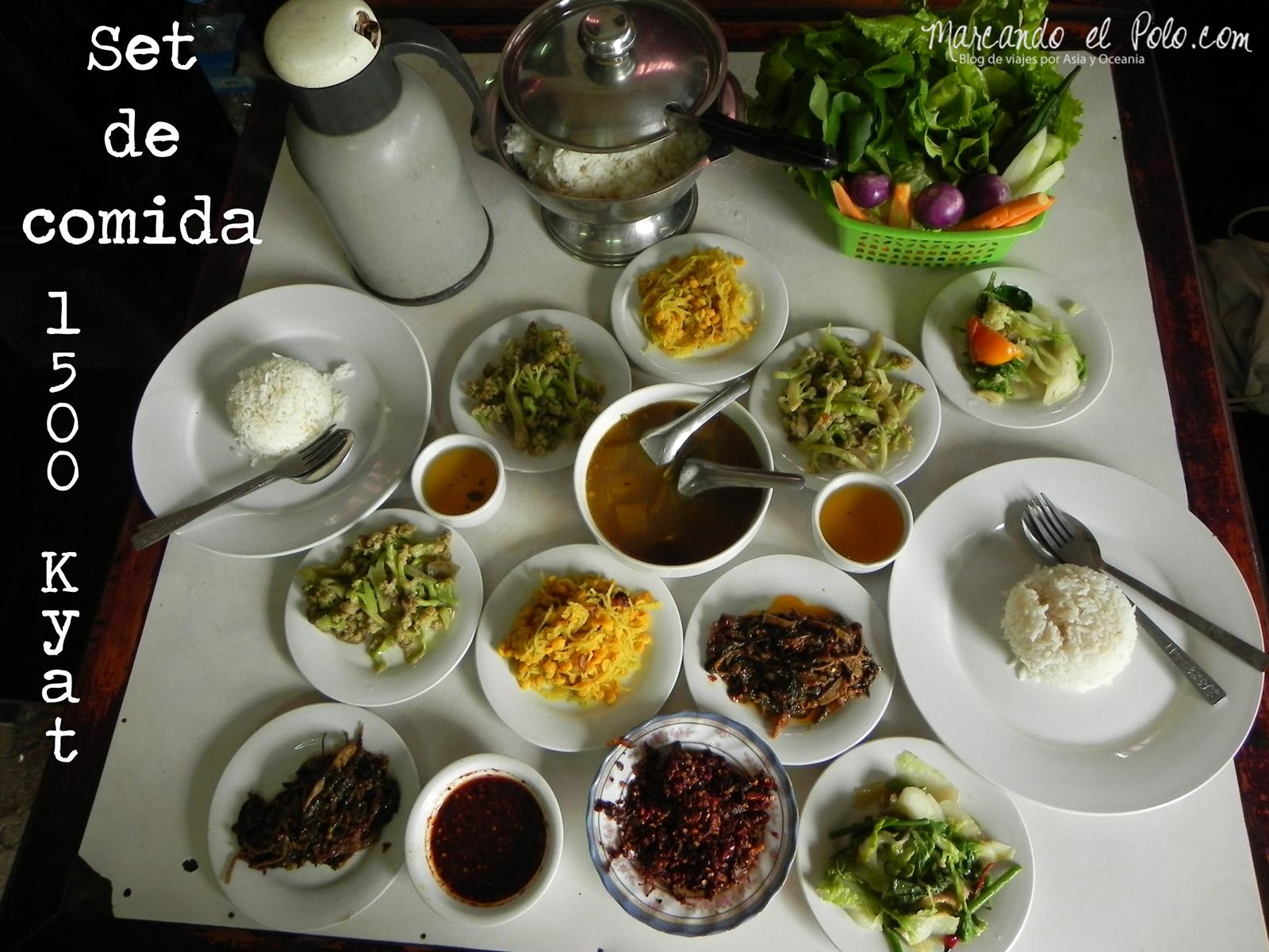 Presupuesto para viajar a Myanmar: set de comida