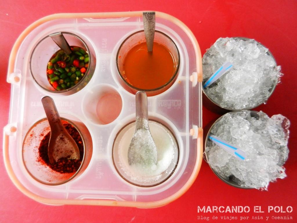 Condimentos, comida tailandesa