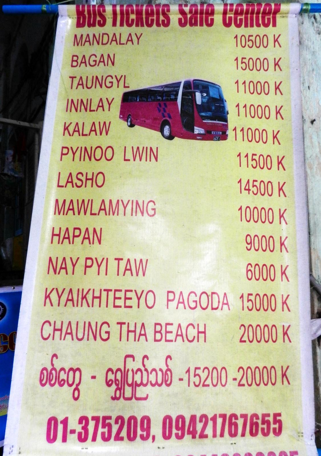 Presupuesto para viajar a Myanmar: precio de buses