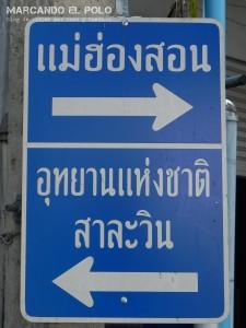 Viajar a Tailandia a dedo - cartel en tailandes