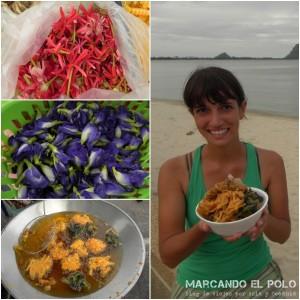 Itinerario para viajar a Tailandia: flores fritas en Prachuap Khiri Khan