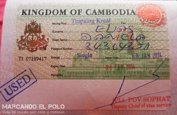 Visa de turismo Camboya