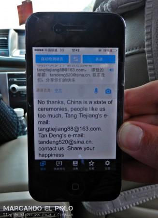 Viajar a dedo China: traductor del celular