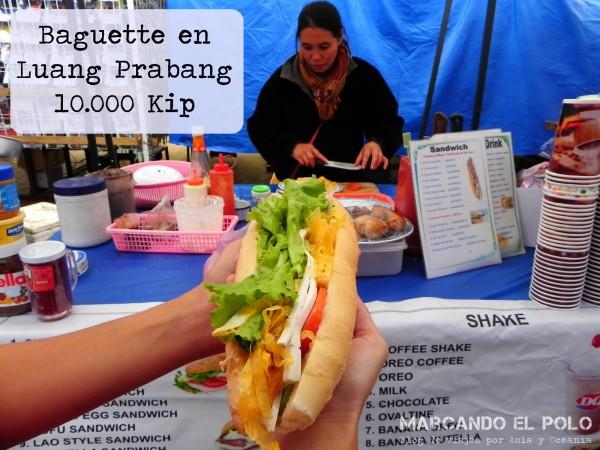 Presupuesto para viajar a Laos - baguette Luang Prabang
