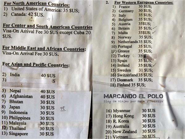 Visa de Laos: precios