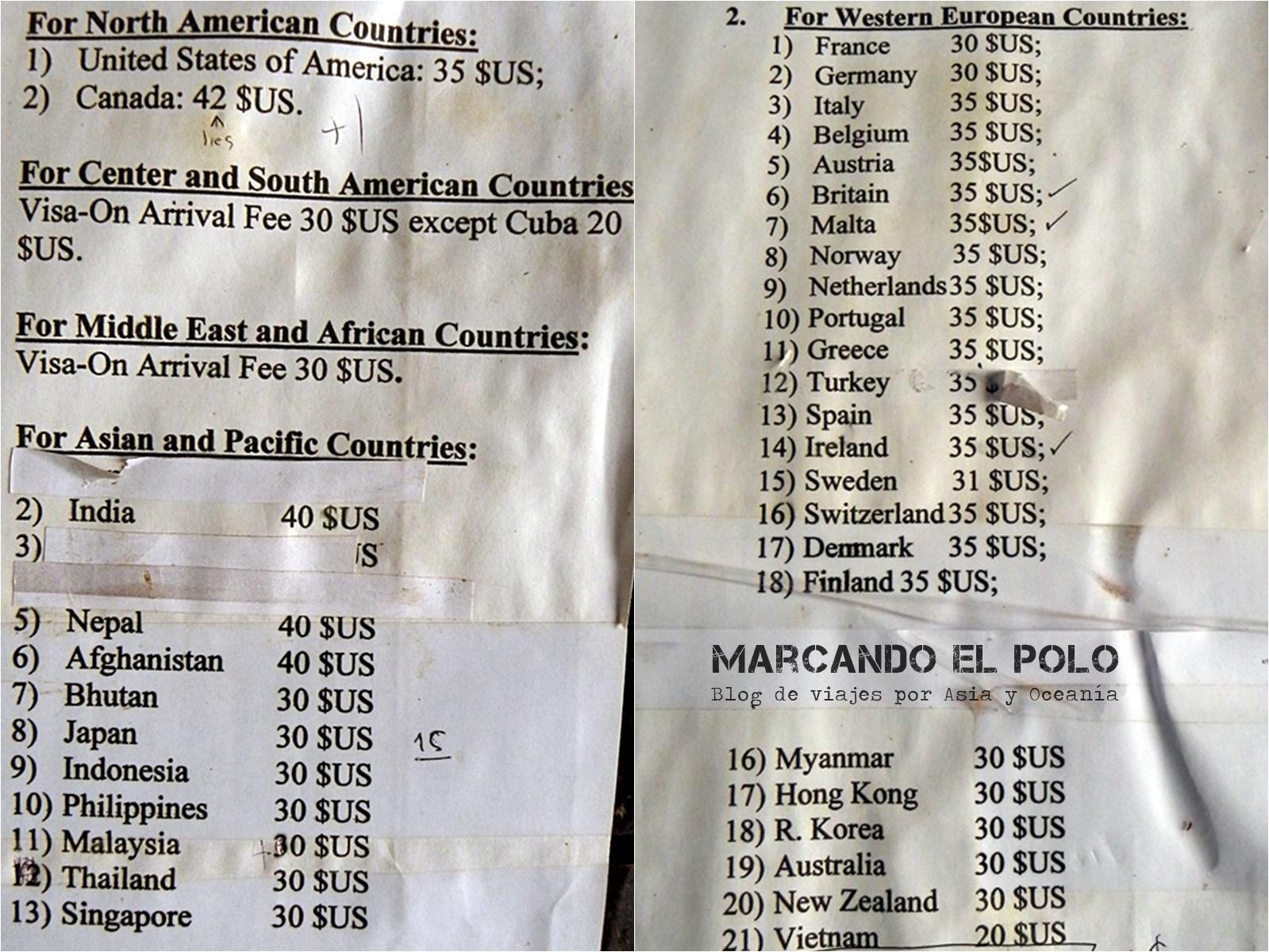 Viajar a Laos: precio de visa