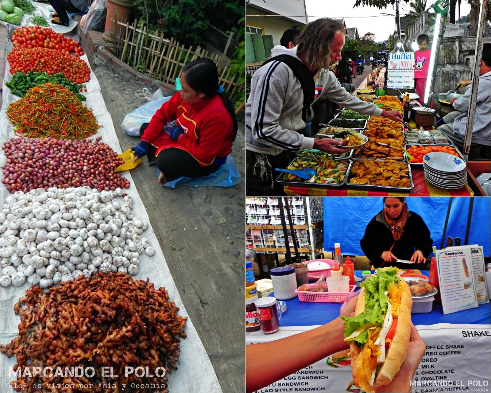 Viajar a Laos: comida en Luang Prabang