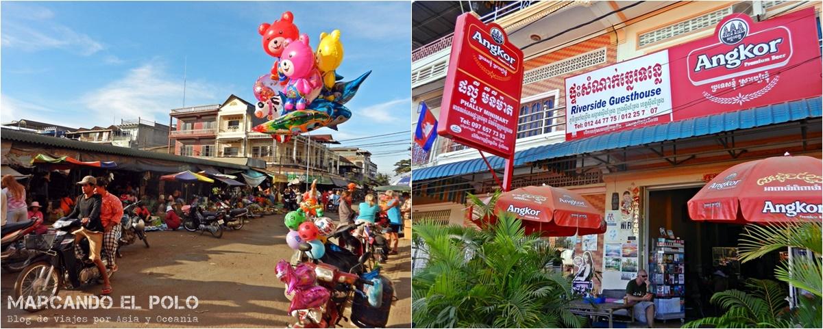 Izq.: Mercado de Stung Treng. Der.: Riverside Guesthouse.