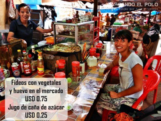 Presupuesto para viajar a Camboya - comida en mercado