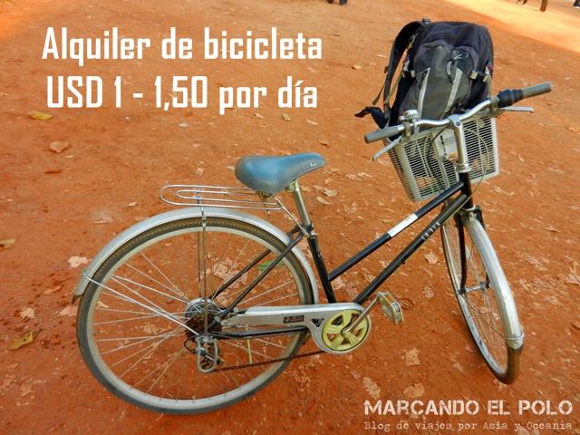 Presupuesto para viajar a Camboya - alquiler bicicleta