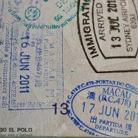 Visa de Macao - sello de entrada