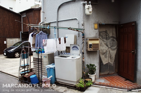 Lavarropas en la calle. Osaka, Japón