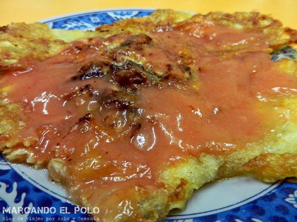 Consejos para viajar a Taiwan: omelette de ostras