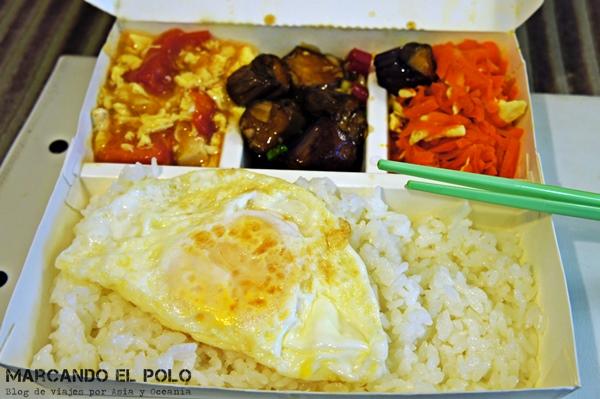 Consejos para viajar a Taiwan: comida set de arroz